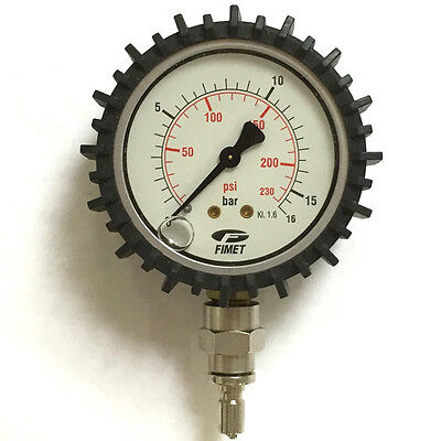 Fimet Pressure Gauge 230 PSi 16 Bar Air Analogue