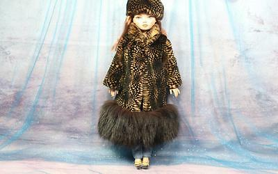 ~Printed Mink & Black Fox Fur Coat and Hat for Ellowyne Wilde dolls~by dimitha~