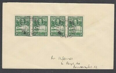 SIERRA LEONE 1937 COVER TO ENGLAND KGV ½d. (x4) (ID:673/D41782)