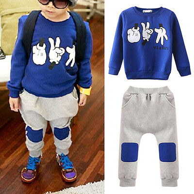 Boy Kids Toddler Baby Long Top +Pants Trousers Set 2PCS Tracksuits Clothes