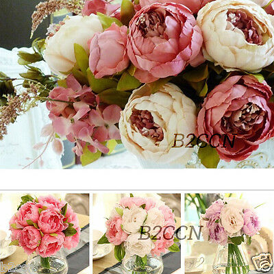 1 Bouquet 10 Heads Artificial Peony Silk Flower Leaf Home Wedding Party Decor