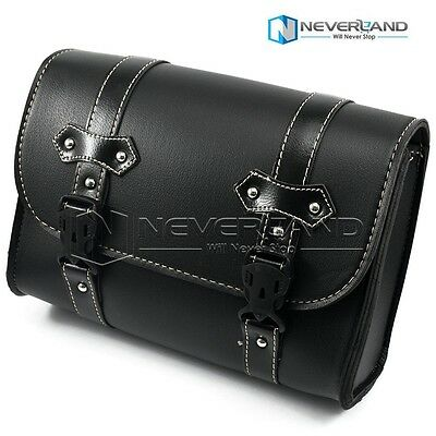 PU Leather Motorcycle Bike Universal Tool saddle College Bag For Harley Black