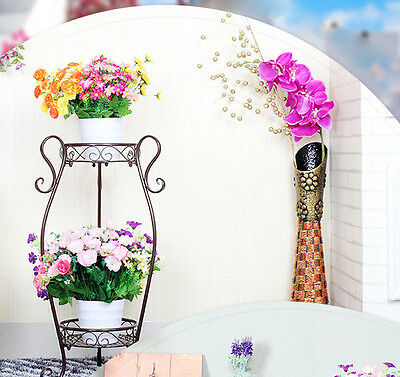 2Tier Wrought Iron Decor Flower Holder Indoor&Outdoor Plant Stand Pastoral Style