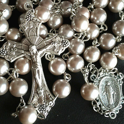 8Mm Mother Of Pearl Beads Rosary Necklace Silver Color Cross Catholic Crucifix
