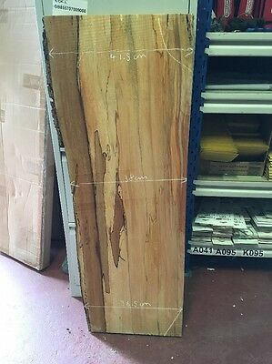 55 Beach Spalted Plank L108/W34-39/T5cm Shelf Bark edge Rustic Natural Shabby