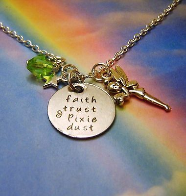 Faith Trust & Pixie Dust Charms Necklace Peter Pan Tinkerbell Inspired
