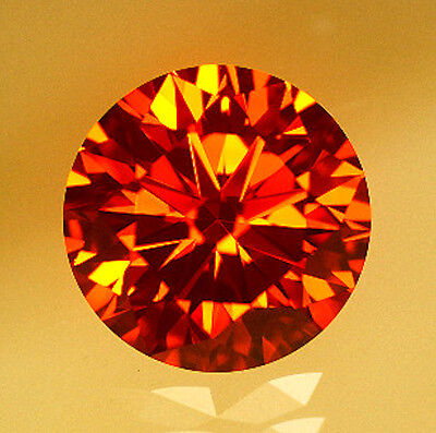 Padparadscha Red Orange Round Brilliant Cut Cubic Zirconia AAAAAA, size choice