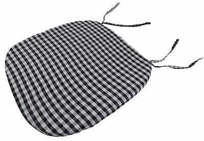 "Gingham Check Black White 16"" X 16"" X 1"" Seat Pad To Match Curtains"