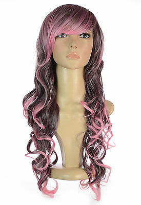 Kassie Pink & Black Tipped Ombre Highlights Wig | Long, Curly w/ Sweeping Fringe