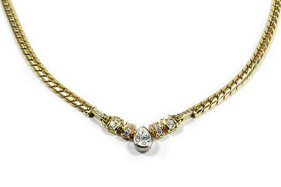 Diamant Collier 585 Gold & 1 ct  Brillanten Diamant Kette Diamond Necklace