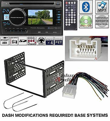 "Power Acoustik Double Din 3.4"" LCD DVD Bluetooth Radio USB Install Kit Harness"