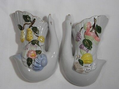 2 vintage pottery white w/ gold trim SWAN & FRUIT design WALL POCKETS vase decor