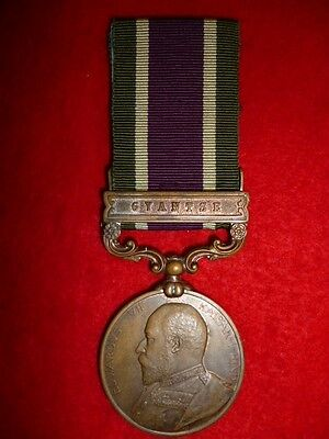 Tibet Medal for 1903-04, 1 clasp Gyantse, bronze issue to Cooly Gopal Singh Lama