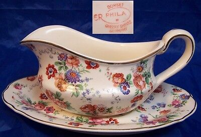 Dorset Cheery Chintz Erphila Germany Gravy Boat and Liner