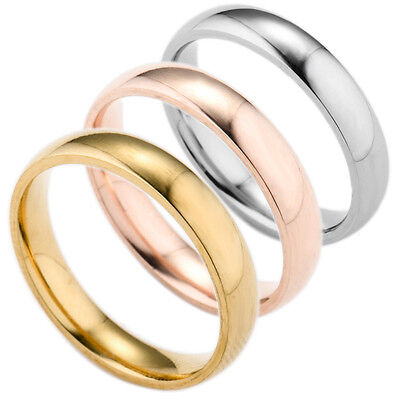 SZ 5-13 Women Stainless Steel Polished Wedding Engagement Party Band Ring 4mm