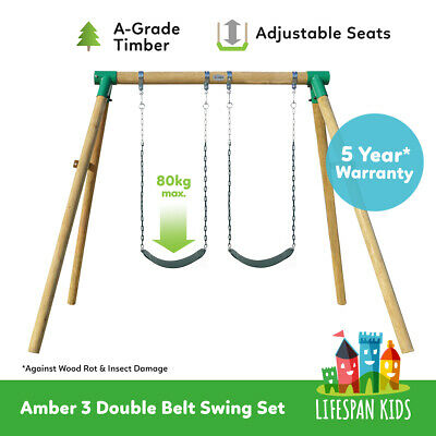 New Kids Outdoor Toy Wooden Double Swing Set Amber Lifespan