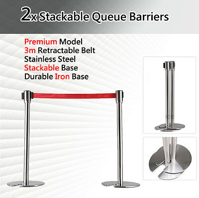 2x Stackable Queue Barriers Crowd Control Post Stand Stainless Steel 3m Retracta