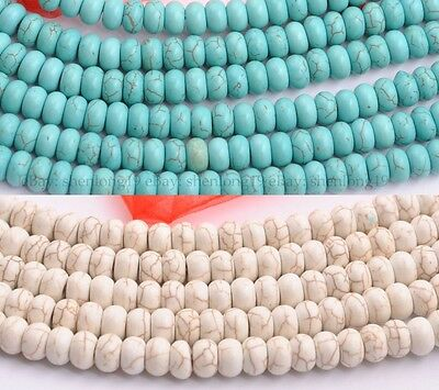 Stabilized Turquoise White Howlite Gemstone Rondelle Spacer Beads 16''