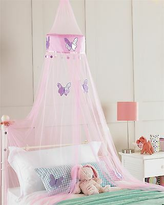 Patchwork Butterflies Voile Net Pink Purple Silver Bed Canopy 30 X 230Cm