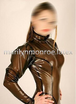 Latex Rubber Gummi Ganzanzug Gray smoke and Black Tights Catsuit Size XS-2XL