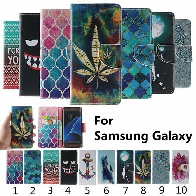 For Samsung Galaxy Flip Stand Card PU Leather Wallet Phone Case Cover Patterned