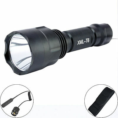 2000Lm CREE XM-L T6 LED 18650 tactique lampe torche Remote Switch Holster