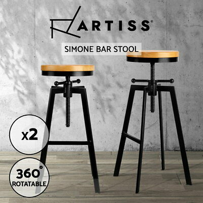 2x Vintage Retro Industrial Bar Stool Steel Kitchen Barstool Swivel Chair 098