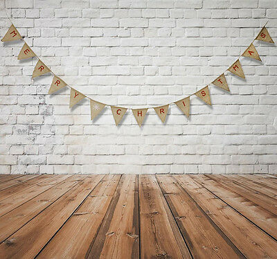 Vintage MERRY CHRISTMAS Hessian Burlap Banner Garland Bunting Party Decor Flags