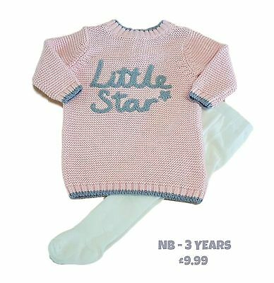 Girls Baby Dress and Tights Set Outfit 2 Two Piece Knitted NB-3y Ex Mother/care