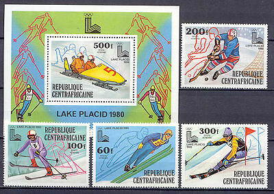 Olympiade 1980, Olympic Games - Zentralafrika - 632-635, Bl.68 ** MNH