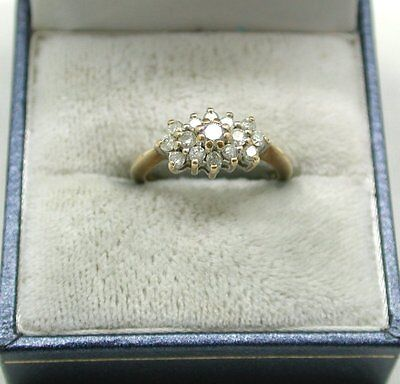 Lovely 9ct Gold And 0.50ct Diamond Cluster Ring Small Size I