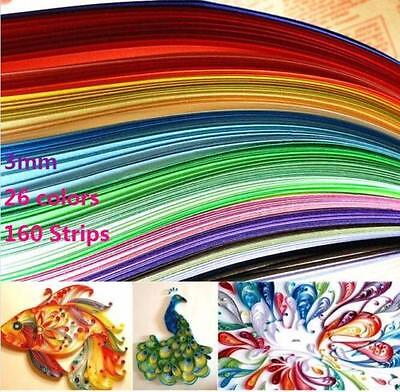 Quilling Paper 3mm*390mm Mixed Origami Paper craft 160 Strips 26 Colors ^