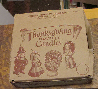 Old Thanksgiving Holiday Gurley Pilgrim Turkey Indian Candles Display Box Only