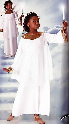 NWT Angel Costume Chiffon Overdress White Gold Child sizes Long Bell Sleeves
