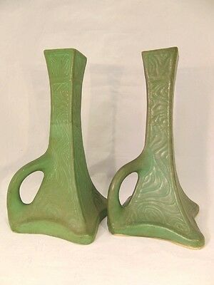 Spectacular ARTS CRAFTS Matte Green Candlesticks HAMPSHIRE GRUEBY Unsigned