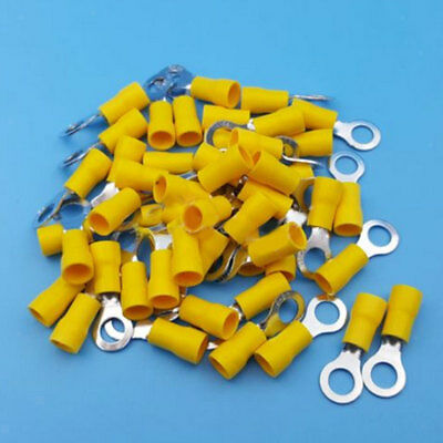 50x Yellow Insulated Ring Crimp Connector Terminals for Electrical Wiring