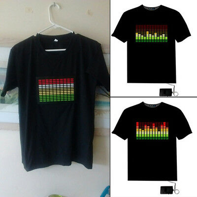 Sound Activated Light Up Flashing Rock Disco Equalizer LED T-Shirt Top Little