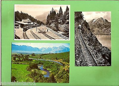 #d269. Three Railway  Train  Related Postcards