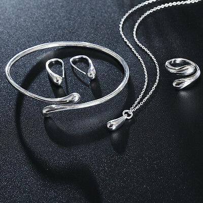 sterling Silver Plated Fashion charms Ring earring necklace Bracelet set jewelry