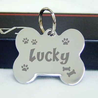 Double Sided Engraved Pet ID Tags stainless steel Dog tag Cat Name Tags--Silver