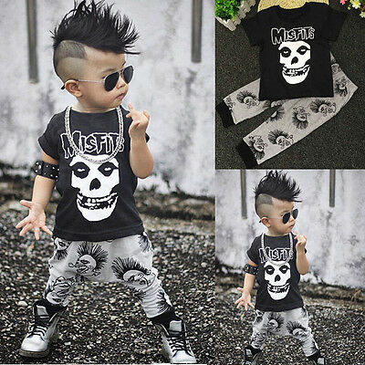 2pcs Cotton Kids Baby Boys Outfit Long Sleeve Skull Tops + Pants Clothes Set