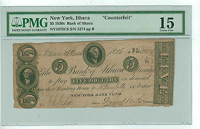 Certified PMG 15 Choice Fine Counterfeit 1836 $5.00 Ithaca New York Bank Note