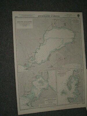 Vintage Admiralty Chart 1668 AEGEAN SEA - ANCHORAGES IN LESVOS 1959 edn