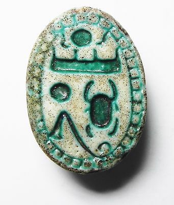 Zurqieh - Ao6- Ancient Egypt. Beautiful And Large Faience Scarab. 1400 B.c
