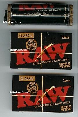 Limited Edition RAW BLACK PACKS Single Wide Rolling Papers + Adjustable Roller