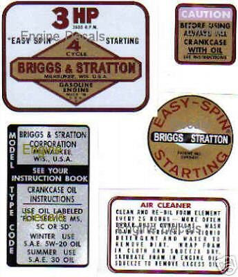 Briggs & Stratton Minibike label 3-hp old school 80000 series 1964 - 1977 63 Set