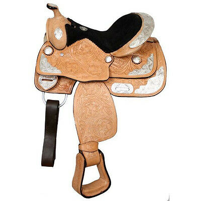 """12"""" or 13"""" Double T Fully tooled Double T Youth Pony Show Saddle 9655"""