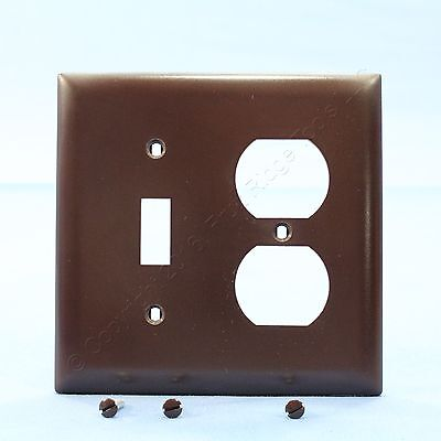 P&S Brown Thermoset Plastic 2-Gang Wallplate Switch Duplex Receptacle Cover TP18