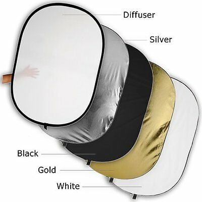 "Fotodiox Pro 40x60"" 5-in-1 Collapsible Oval Reflector, Silver/gold/black/white/"