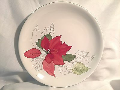 "Block Bernarda Watercolors Goertzen Poinsettia 11 7/8"" Cake  Plate   Christmas"